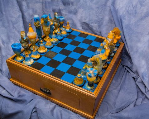 Custom Made Valley Of The Kings Blue Glass Chess Set