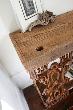 Custom Made The Piety Table-Console Table Or Writing Desk Made From Reclaimed Wood And Wrought Iron