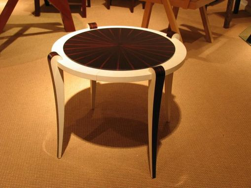 Custom Made Macassar Ebony And Parchment  Side Table