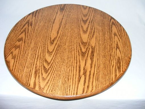Custom Made Dark Oak Wood Lazy Susan - 30 Inch Diameter