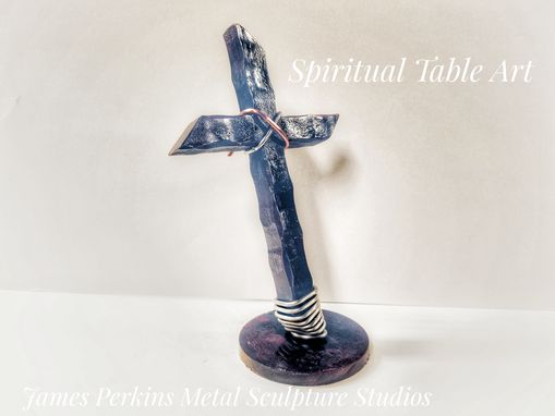 Custom Made Cross And Christian Metal Table Art Made Of Hand Forged Iron