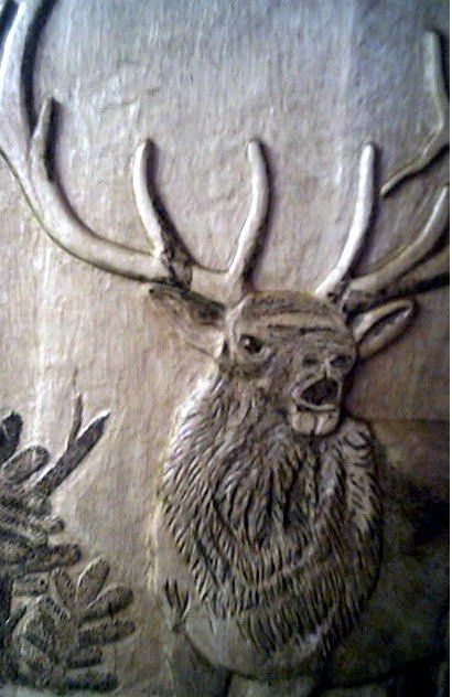 Hand made bull elk relief carving by tom s wood art