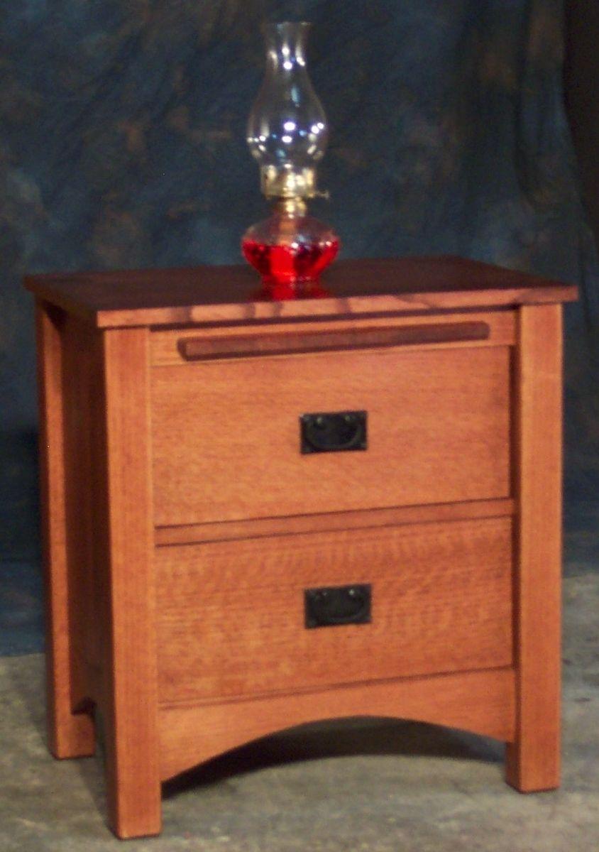 Custom Made 2 Drawer Quartersawn Oak Mission Style Night Stand