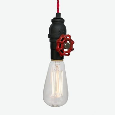 Custom Made Vintage Upcycled Valve Pipe Pendant Light – Red Cloth Cord
