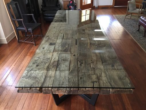 Custom Made Reclaimed Wood And Glass Table