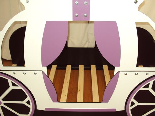 Custom Made Princess Carriage Twin Kids Bed Frame - Handcrafted - Princess Themed Children's Bedroom Furniture