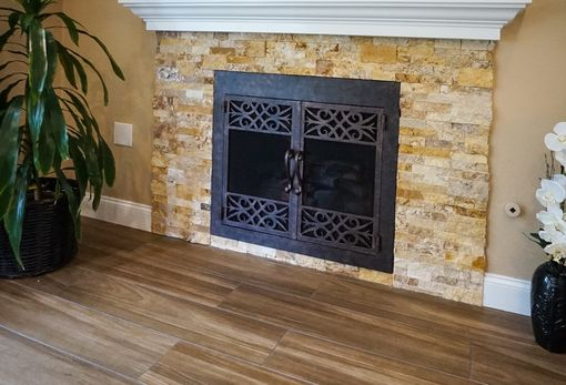 Custom Made Wrought Iron Fireplace Doors