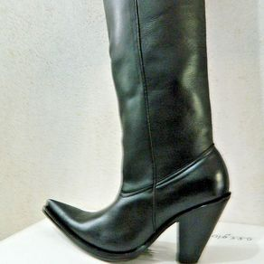 8ec1ad594060 Custom Made 34¨Tall Black Leather Cowboy Boots 5¨ High Thin Heels Made To