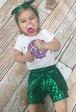 Custom Made Little Mermaid First Birthday Outfit For Baby Girls