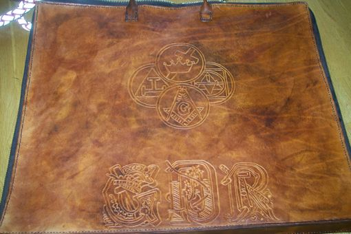 Custom Made Custom Leather Mason Apron Case With Yorkrite Symbol,Masonic Letters And In Weathered Color