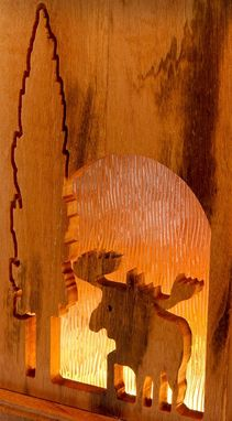 Custom Made Moose Lamp-Tigerwood Carved 3 Way Table Lamp