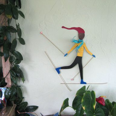 Custom Made Metal Wall Art Sculpture Cross Country Skier Reclaimed Metal Decor Large Skier Wall Art