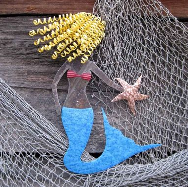 Custom Made Handmade Upcycled Metal Blonde Mermaid Wall Art Sculpture