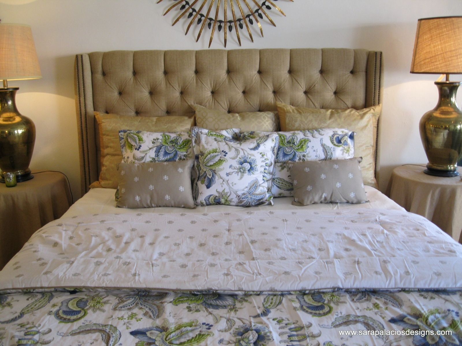 Hand Crafted Tufted Linen King Bed Headboard By Sara