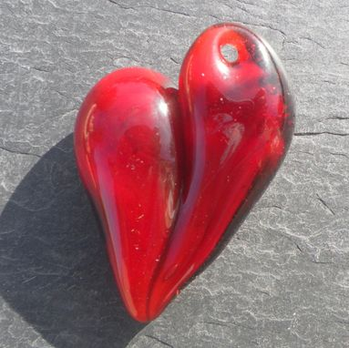 Custom Made Classic Red Glass Hear Pendant