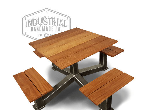 Custom Made Gatlinburg- Square Industrial Outdoor Picnic Table