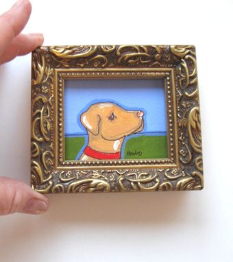 Custom Made Acrylic Animal Painting Miniature Yellow Labrador Painting