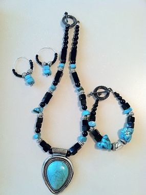 Custom Made Turquoise And Black Statement Necklace