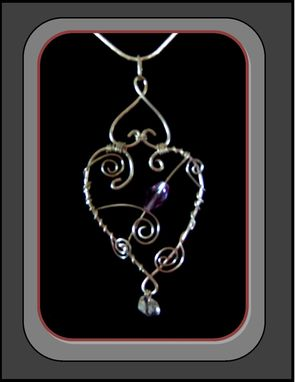 "Custom Made My ""Hearts Collection"" Silver Wire Sculpted Romantic Heart Necklace With Violet Gemstones"