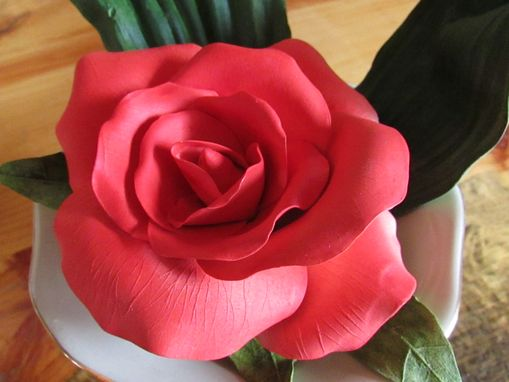 Custom Made Big Beautiful Red Porcelain Rose In Lovely Base With Porcelain Leaves