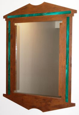 Custom Made Rustic Metal & Stained Glass Mirror By Rustic Furniture Hut