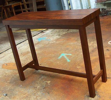 Custom Made Contemporary Hall Table In Walnut Solid Wood.