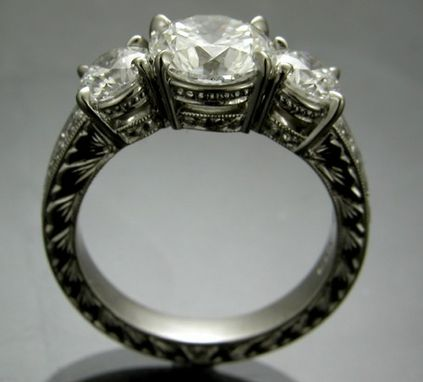 Custom Made Hand Engraved Diamond Ring