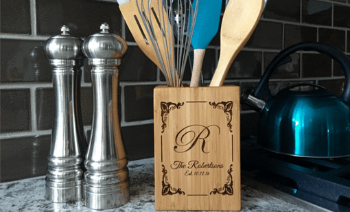 Custom Made Personalized Bamboo Kitchen Utensil Holder