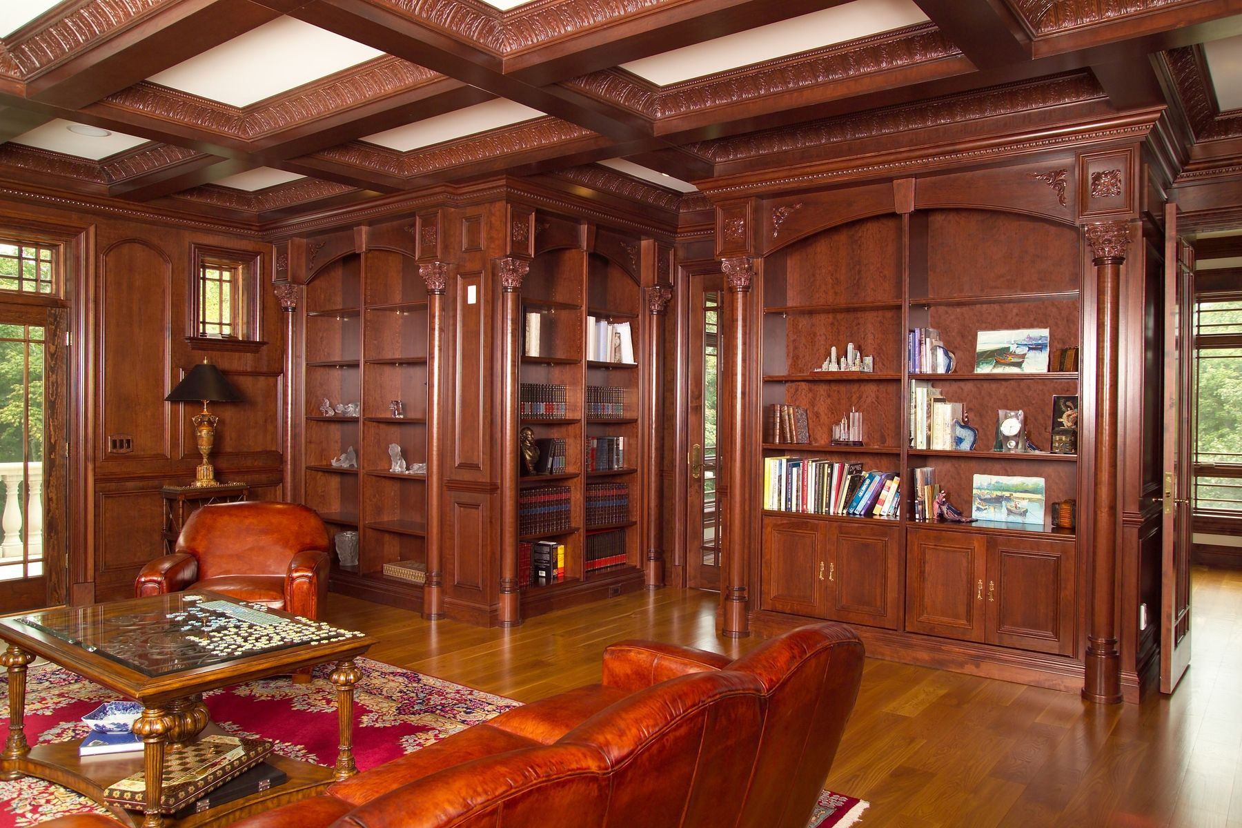Custom library and coffer ceiling by new jersey hardwoods for Custom home library design