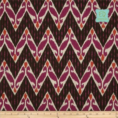 "Custom Made Lacefield Zig Zag Ikat Chevron Raspberry Orange Pink Brown Linen 84""L X 50""W"