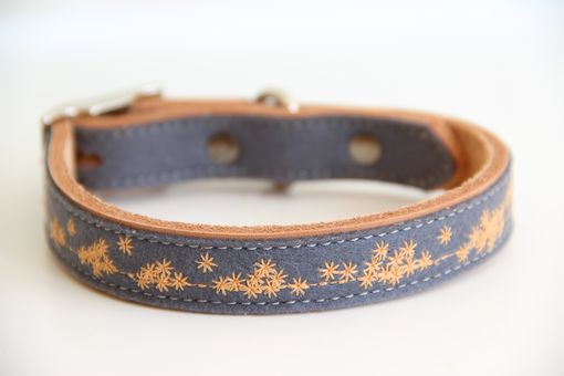 Custom Made Embroidered Felt And Leather Dog Collars