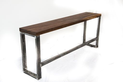 Custom Made Walnut And Raw Steel Console Table