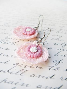 Custom Made Pink - Mini Doilies Lace And Handcrafted Polymer Clay Flower Earrings