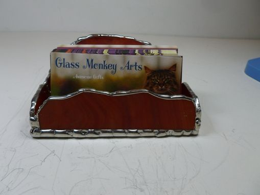 Custom Made Stained Glass Business Card Holder In Orange