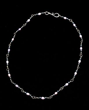Custom Made Sterling Necklace  Pearls  And  Hematite