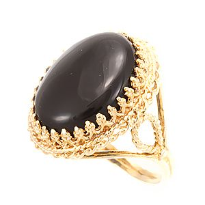 Custom Made Onyx Ring In 14k Yellow Gold , Ladies Ring, Black Stone Ring, Victorian Ring