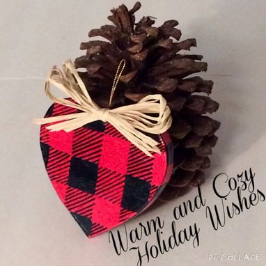 Custom Made Christmas Tree Ornament // Painted Ornament//Heart Ornament//Woodland Ornament Buffalo Plaid Check