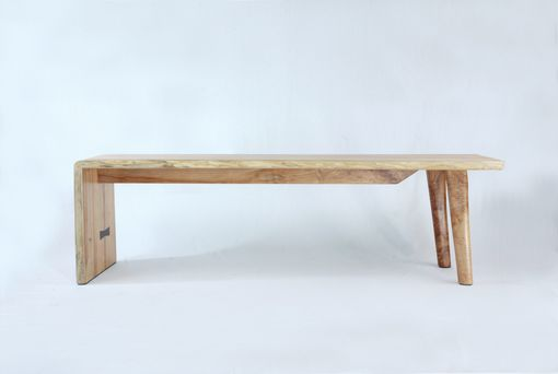 Custom Made Asymmetrical Waterfall Slab Bench With Black Walnut Butterflys