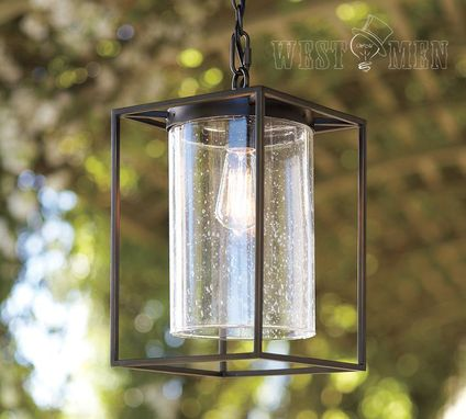 Custom Made Westmenlights Industrial Cube Glass Metal Pendent Hanging Light Kitchen Rustic Kitchen