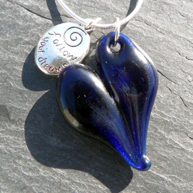 Custom Made Valentines Necklace Heart Boro Pendant Charm Silver Chain Blue Follow Your Dreams