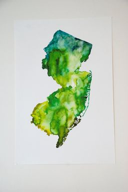 Custom Made New Jersey Map Watercolor Print
