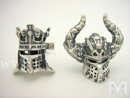 Custom Made Sterling Silver Viking King Helmet Cufflinks