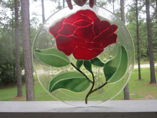 Custom Made Beauty And The Beast Inspired Fused Glass Rose Ornament