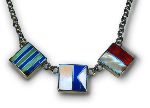 Custom Made Nautical Flags Initials Necklace