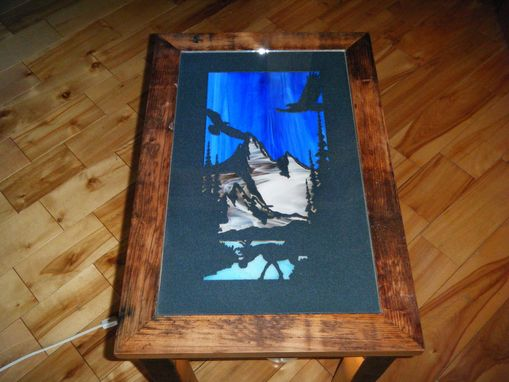 Custom Made End Table With Metal Art & Stained Glass