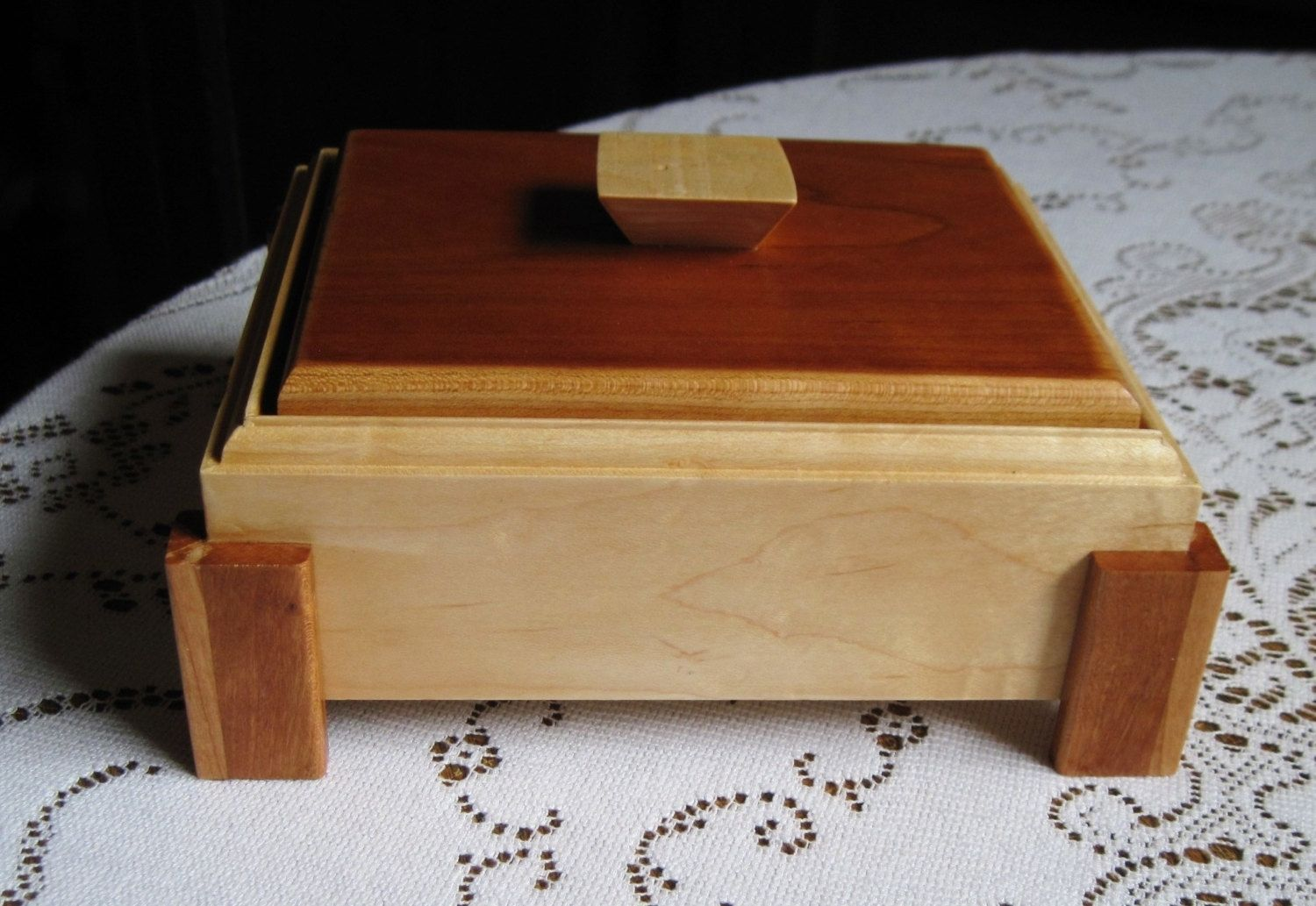 Custom made made to order handmade footed wood jewelry for Jewelry box made of wood