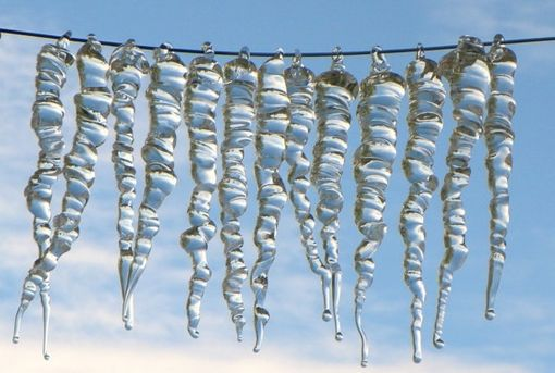 Custom Made Ten-Piece Glass Ice Icicles