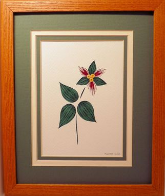 Custom Made Wildflowers - Pink Lady's Slipper Quilled Framed Wall Art New Hampshire Wildflowers