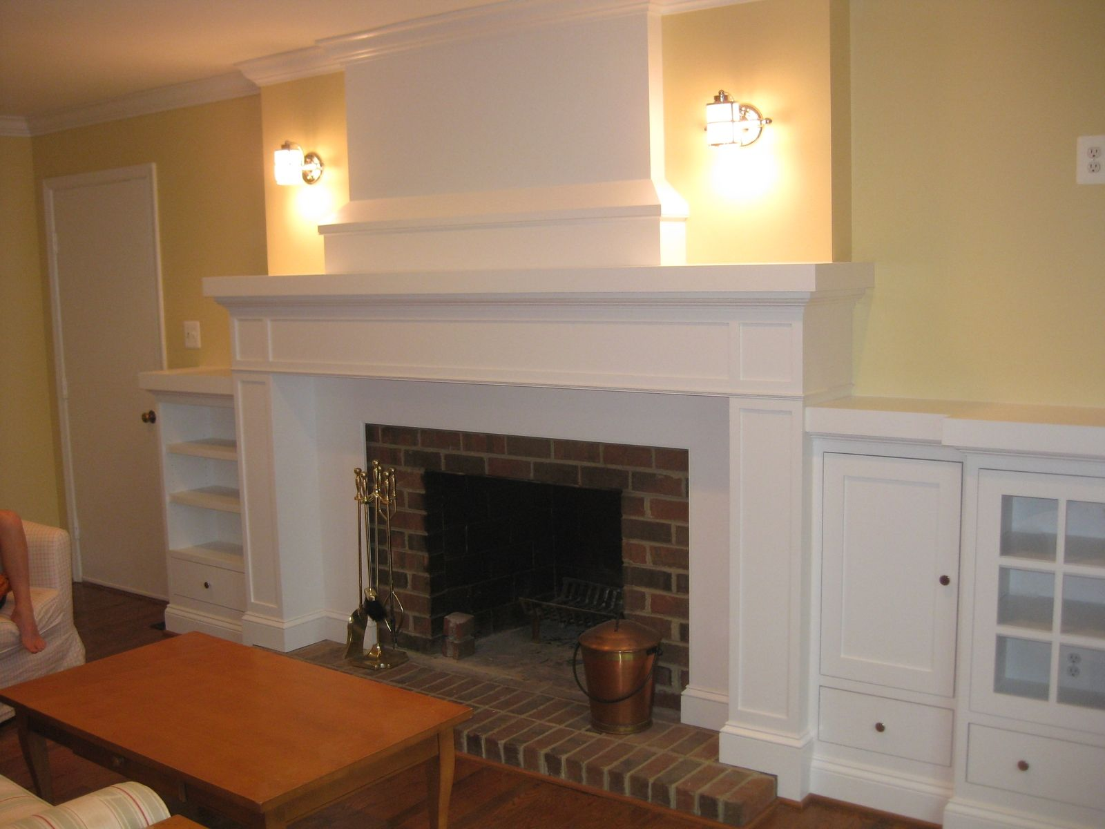 Custom Made Mantle With Media Storage By Base Home
