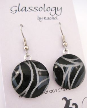 Custom Made Glass Dome Earrings With Black Rose Design
